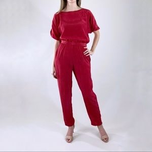 80s Vintage Red Short Sleeve Jumpsuit with Belt